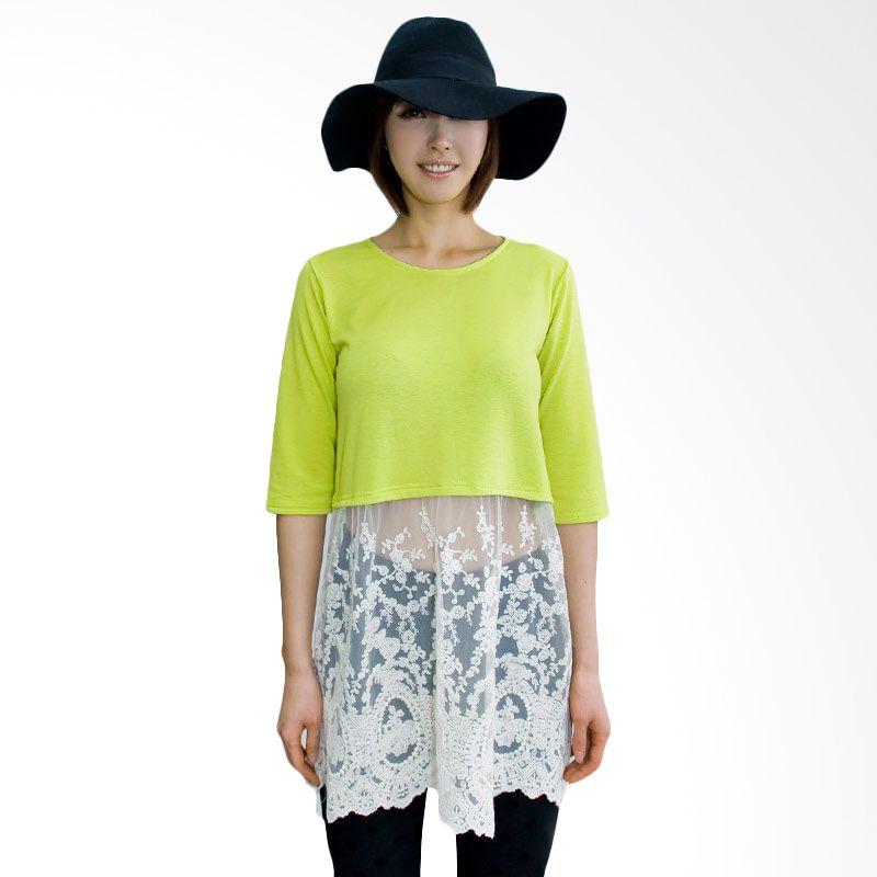 Kakuu Basic Tshirt Waist Cut Embroidery Yellowish Green