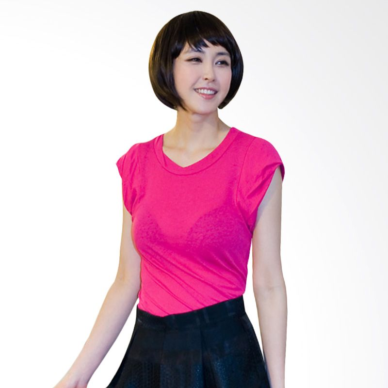 Kakuu Basic Twisted Sleeve Deep Pink T-shirt Wanita