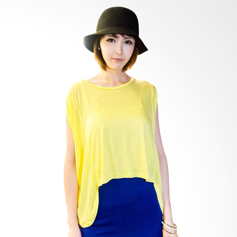 Kakuu Basic Unbalance Boxy Yellow Atasan Wanita