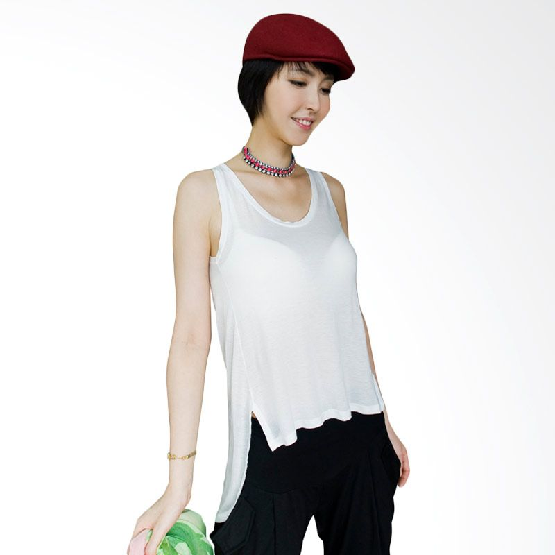 Kakuu Basic Unbalance Plain Sleeveless White Atasan Wanita