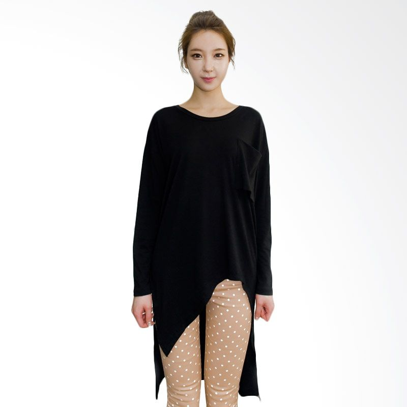 Kakuu Basic Uneven Boxy Long Black T-shirt Wanita