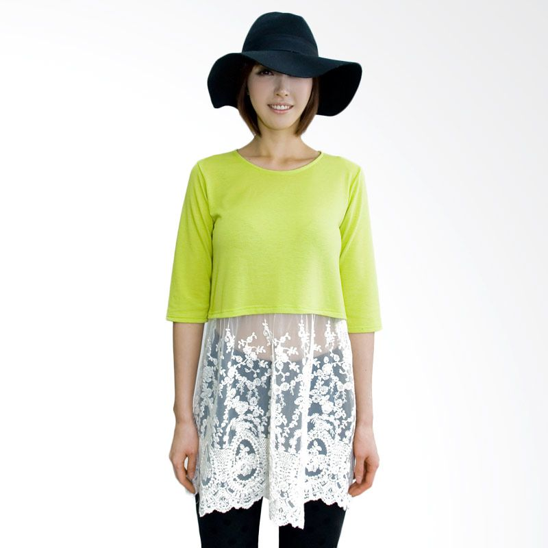Kakuu Basic Waist Cut Embroidery Yellowish Green Atasan Wanita