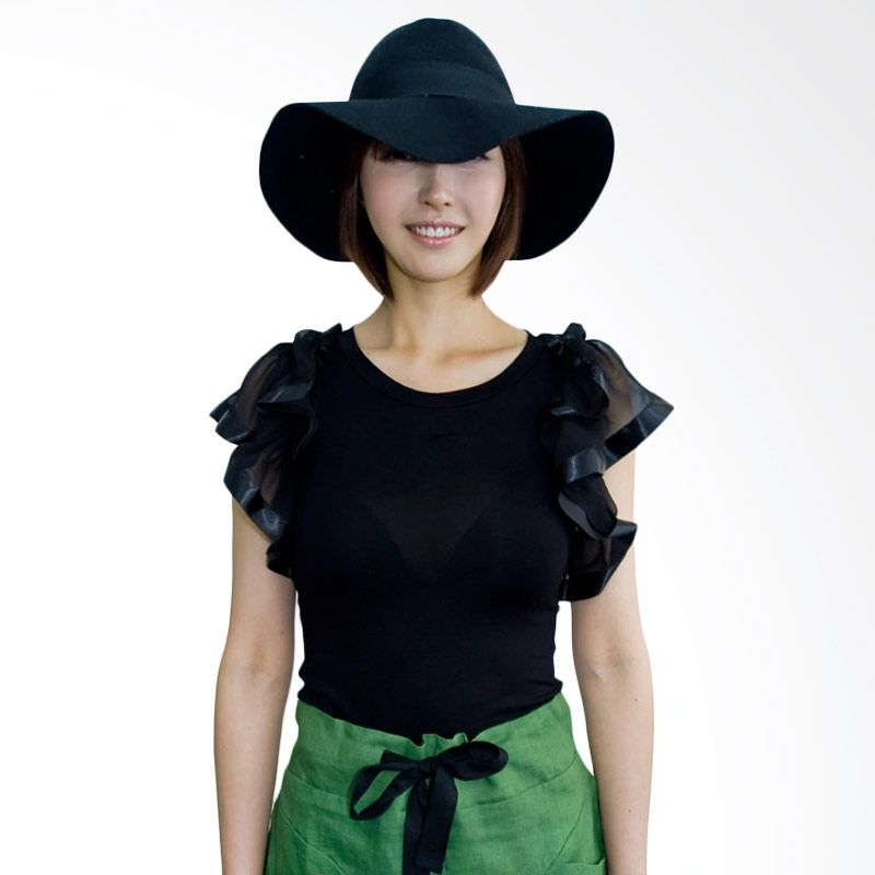 Kakuu Basic Wavy Sleeve Slim Fit Black Atasan Wanita