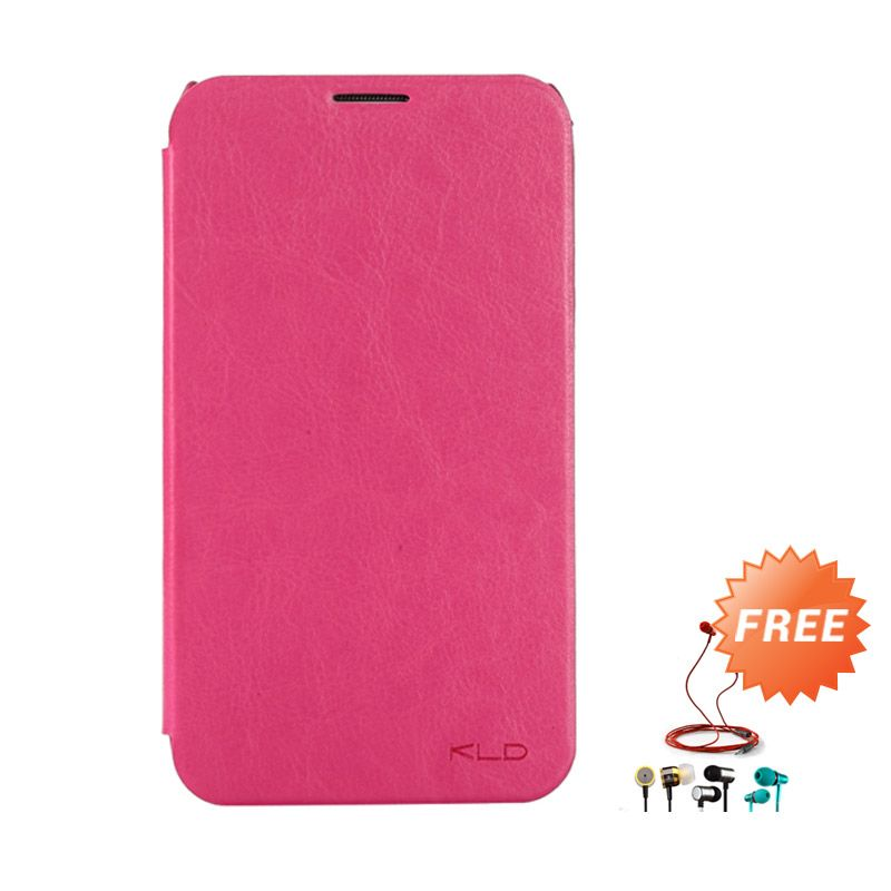 Kalaideng Enland Series Leather Pink Flip Cover For Samsung Galaxy Note 2 + Earphone
