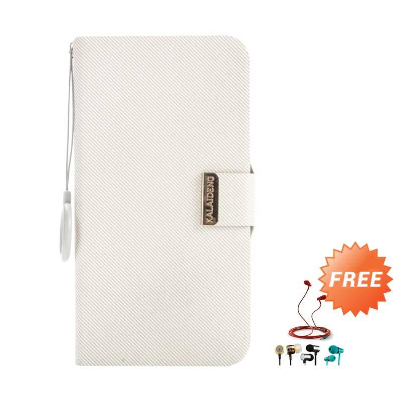 Kalaideng Unique Flip Cover Leather Cream Casing for Samsung Galaxy Note 1 + Earphone
