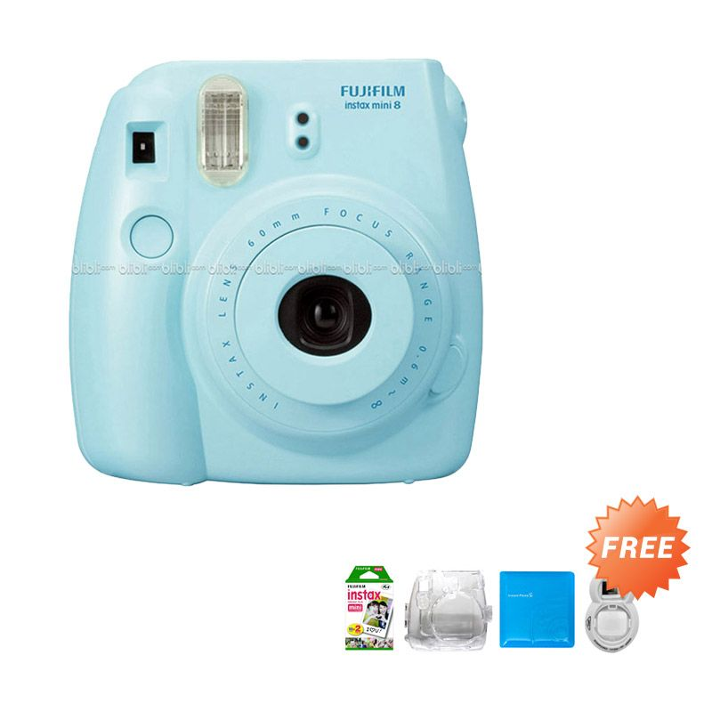 Fujifilm Instax Mini 8 Blue Kamera Polaroid + Hardcase + Album + Refill [20 Sheet] + Selfie Lens