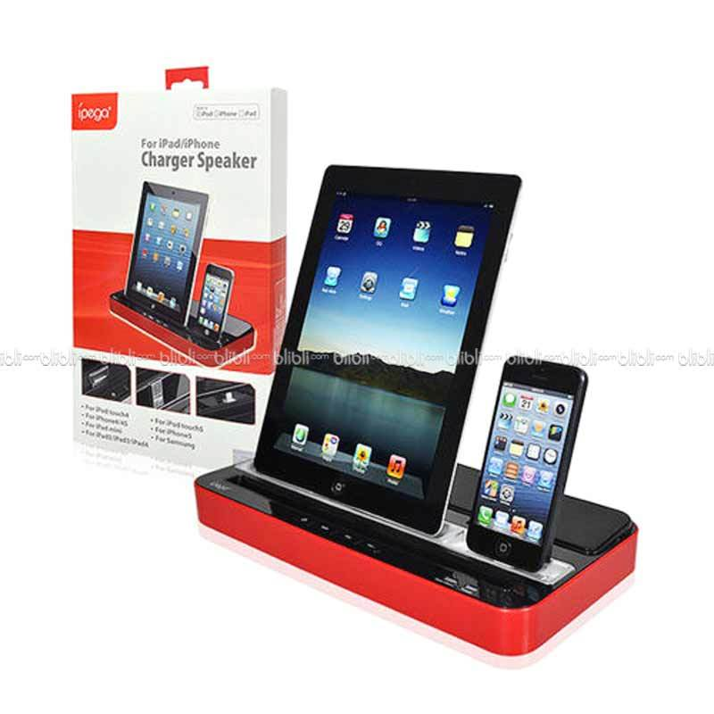 Ipega Charging Stand Dock with Speaker PG-IP115 Hitam Merah