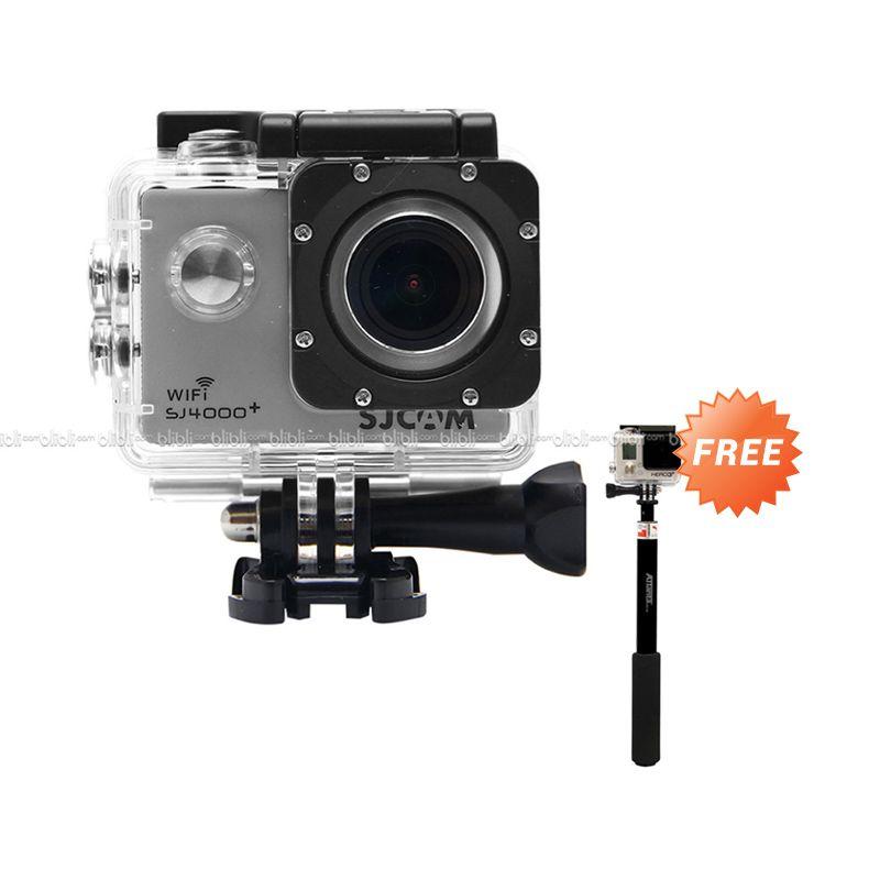 SJCAM WiFi Novatek GoPro Killer SJ4000+ 2K Silver Action Camera + Tongsis (Random Color)