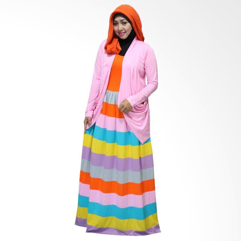 Kampung Souvenir Gamis Marble Long Cardi Pink Dress Muslim