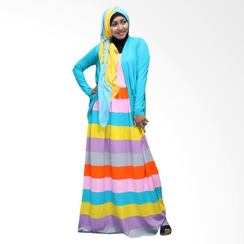 Kampung Souvenir Gamis Marble Long Cardi Turquoise Dress Muslim