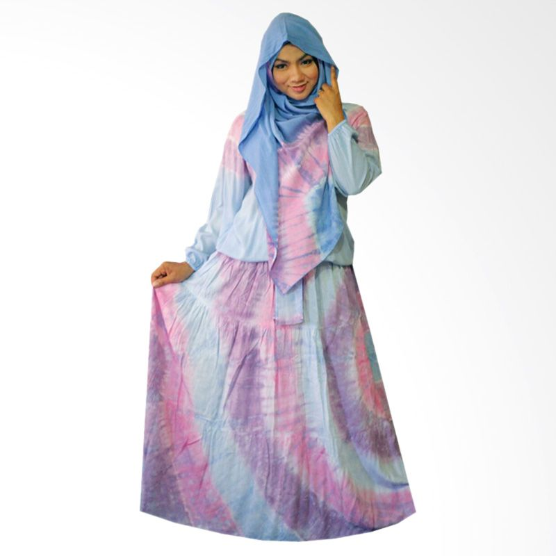 Kampung Souvenir Gamis Sweet Hera Pasmina Soft Blue Dress Muslim