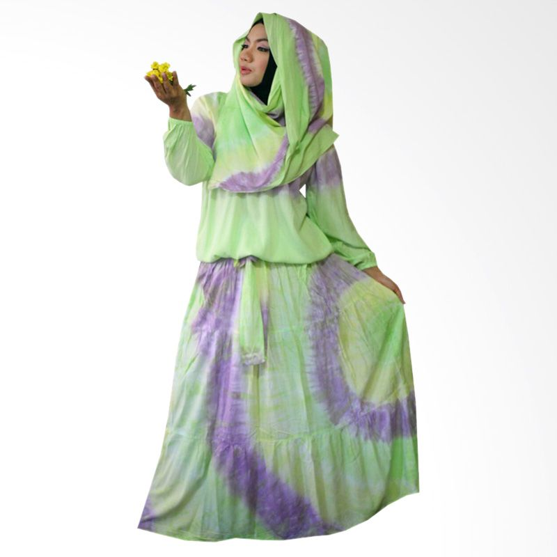 Kampung Souvenir Gamis Sweet Hera Pasmina Soft Green Dress Muslim