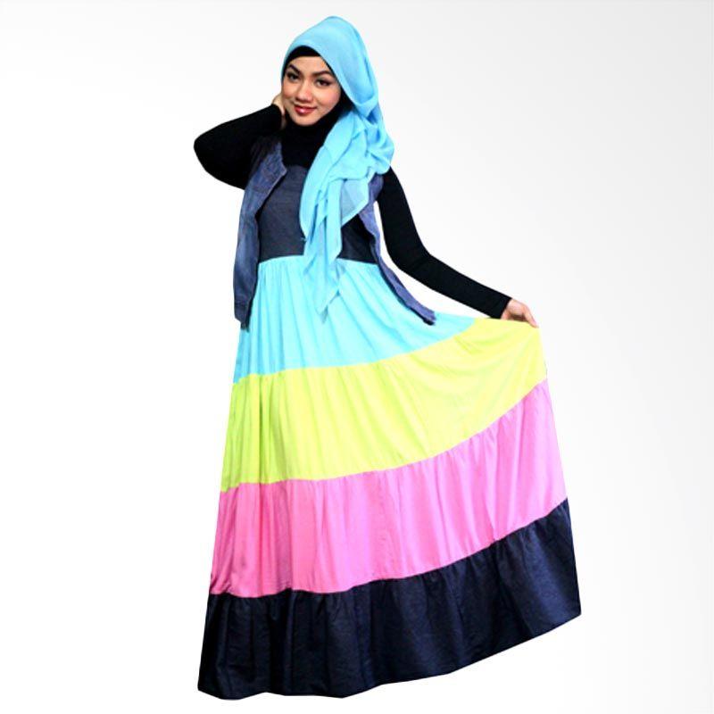 Kampung Souvenir Long Summer Blue Green Dress Muslim