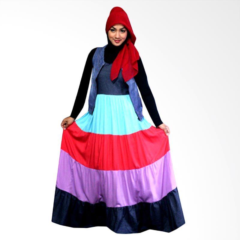 Kampung Souvenir Long Summer Blue Red Dress Muslim