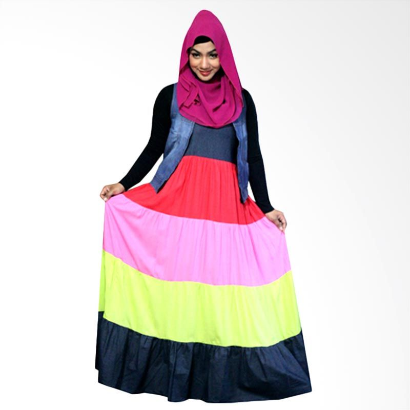 Kampung Souvenir Long Summer Red Pink Dress Muslim