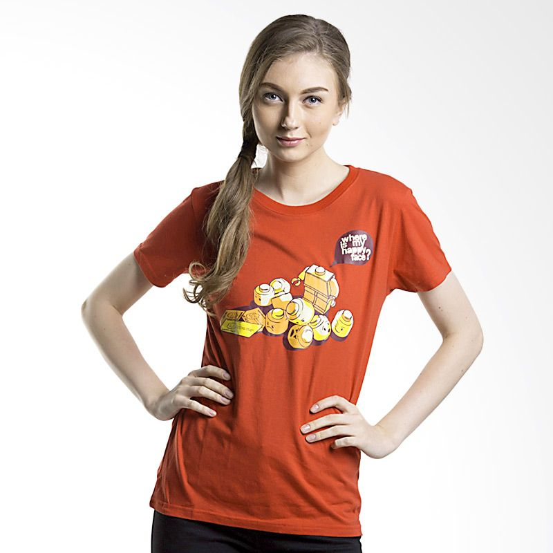 Kaos Pop Happy Face Merah Atasan Wanita