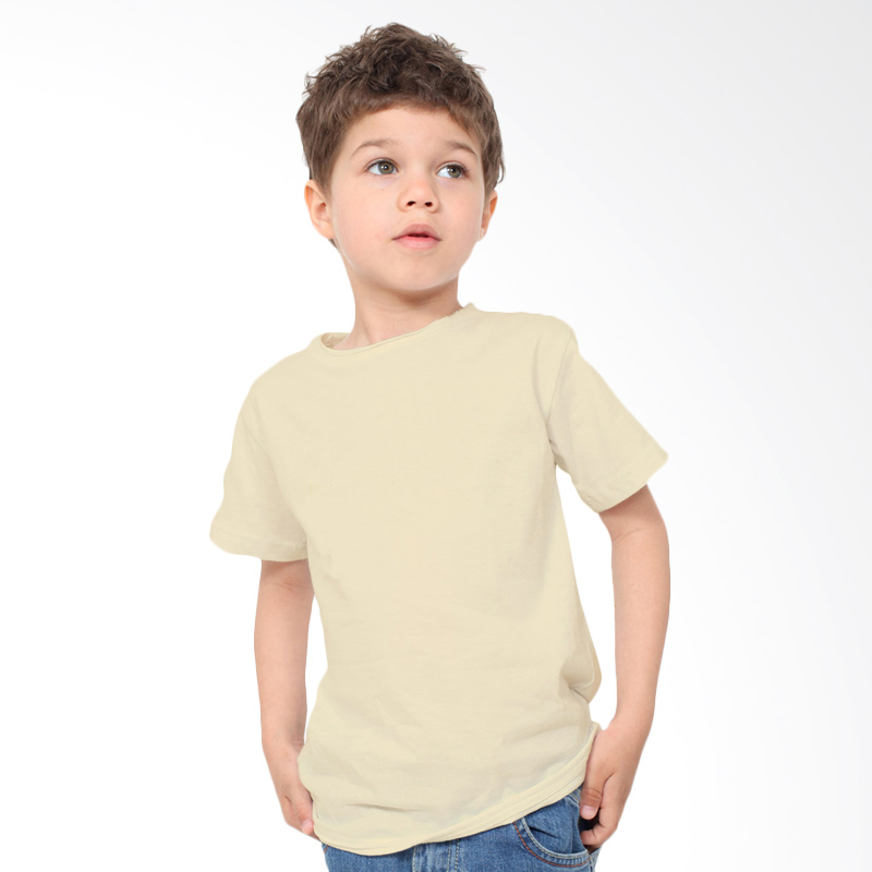 harga KaosYES Kaos Polos T-Shirt Anak - Cream Blibli.com