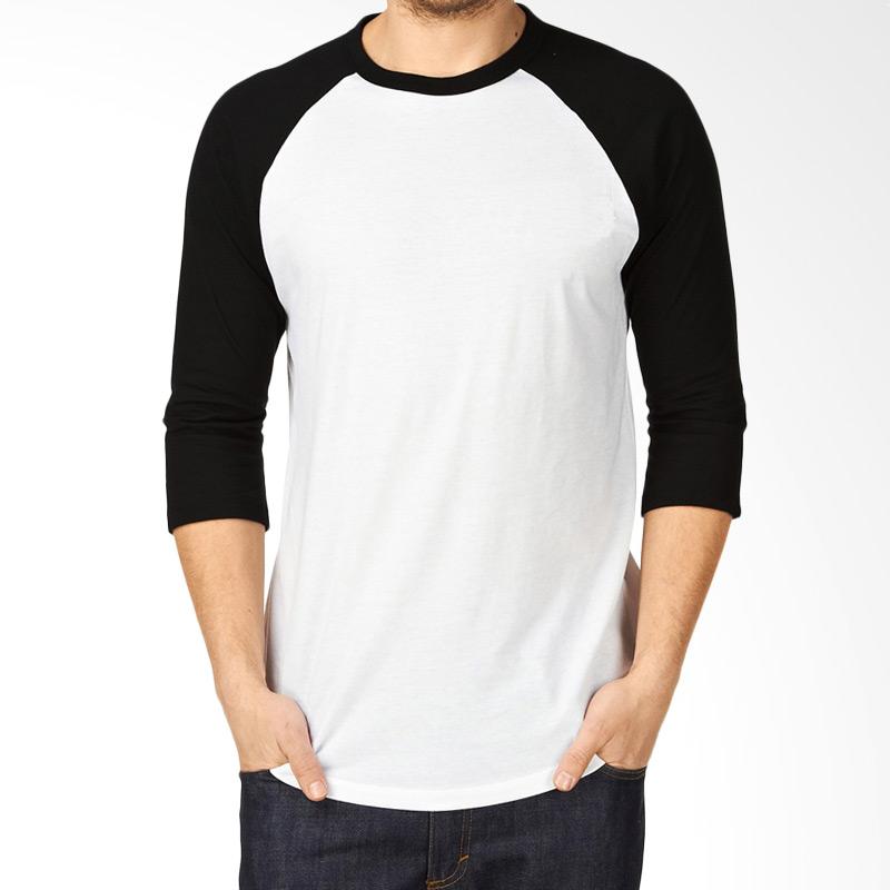 KaosYES Kaos Polos T-Shirt RAGLAN Lengan 3/4 - Putih Hitam Extra diskon 7% setiap hari Citibank – lebih hemat 10% Extra diskon 5% setiap hari