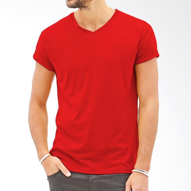 KaosYES Polos V-Neck Kaos Pria - Merah Extra diskon 7% setiap hari Extra diskon 5% setiap hari Citibank – lebih hemat 10%