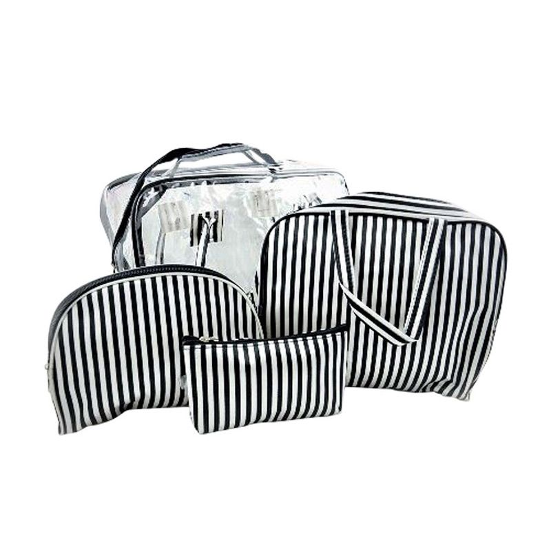 Kay Beauty Stripe Black White Pouch [5 Pcs]