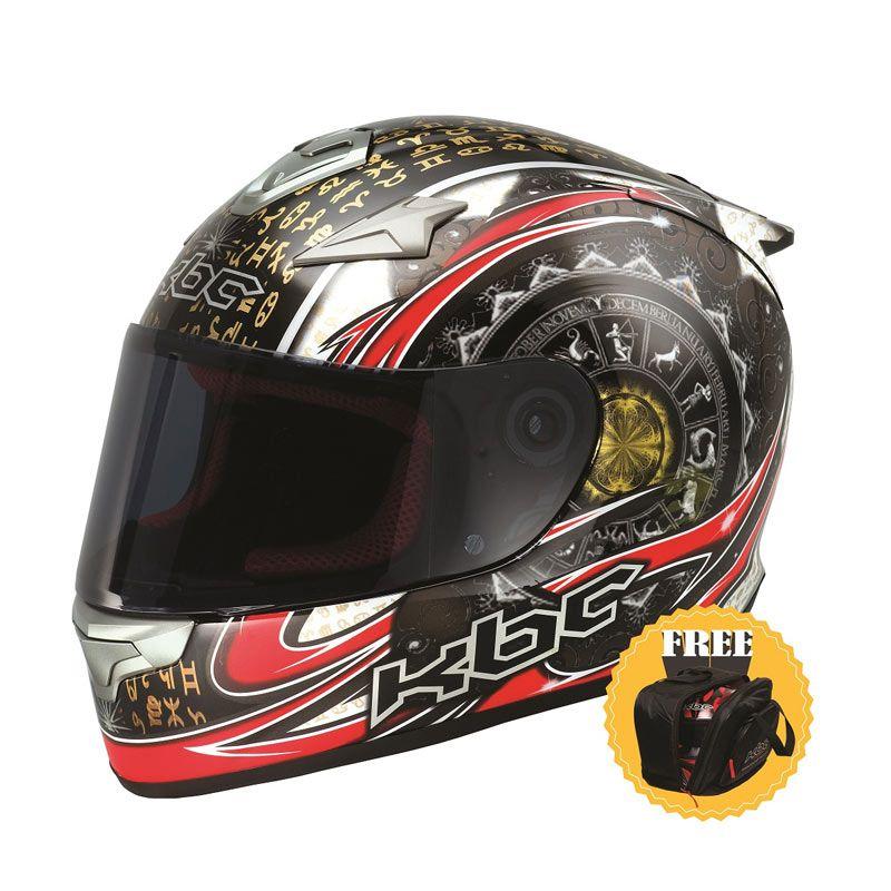 KBC VR-4R Zodiac Black/Red/White Helm Full Face + Tas