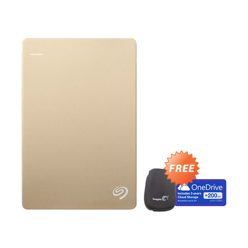 Seagate BackUp Plus Slim Gold Hard Disk [1 TB] + Pouch + 200 GB One Drive Cloud Storage
