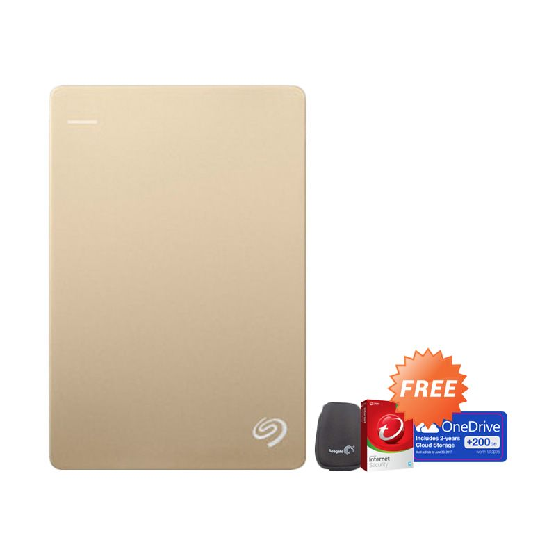 Seagate BackUp Plus Slim Gold Hard Disk [1 TB] + Pouch + Anti Virus + 200 GB One Drive Cloud Storage