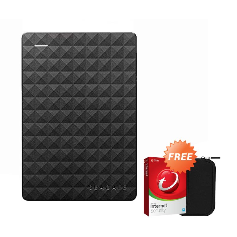 Seagate Expansion NEW 1 TB Harddisk Eksternal + Antivirus Trend Micro dan Pouch