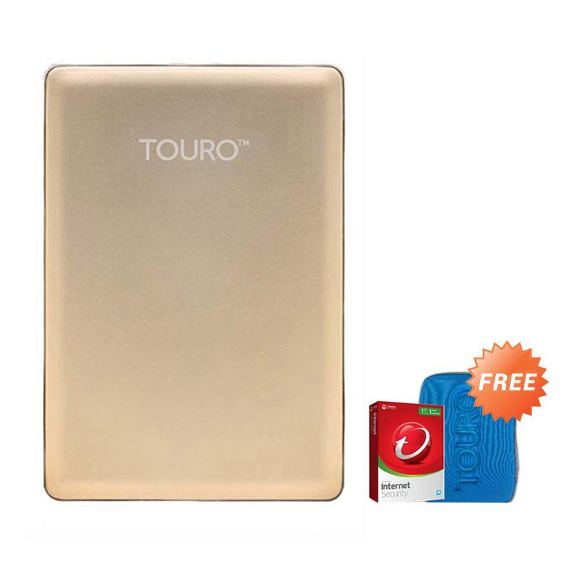 Hitachi HGST Touro S 1 TB Gold Hard Disk Eksternal [2.5 Inch] + Pouch + Anti Virus