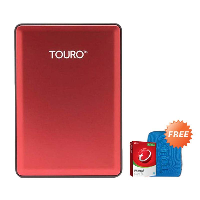 Hitachi HGST Touro S 1 TB Red Hard Disk Eksternal [2.5 Inch] + Pouch + Anti Virus