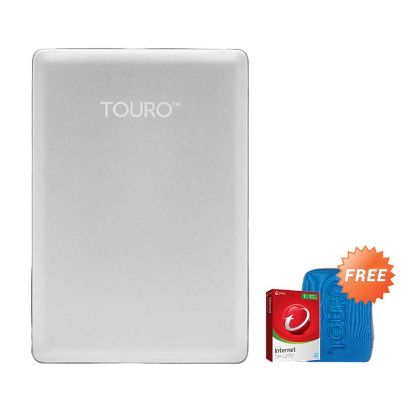 Hitachi HGST Touro S 1 TB Silver Hard Disk Eksternal [2.5 Inch] + Pouch + Anti Virus