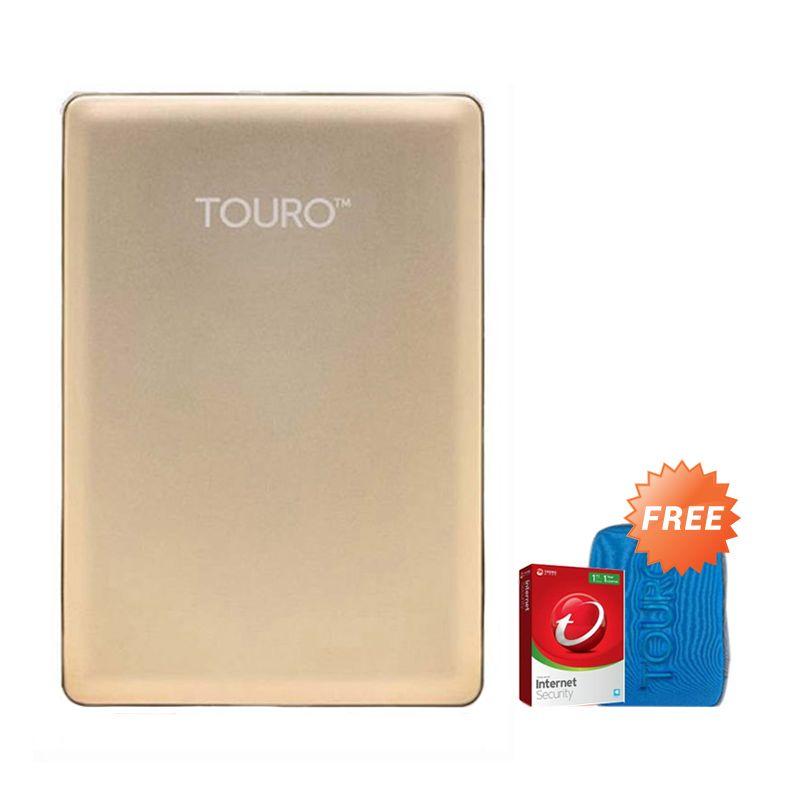 Hitachi HGST Touro S 500 GB Gold Hard Disk Eksternal [2.5 Inch] + Pouch + Anti Virus