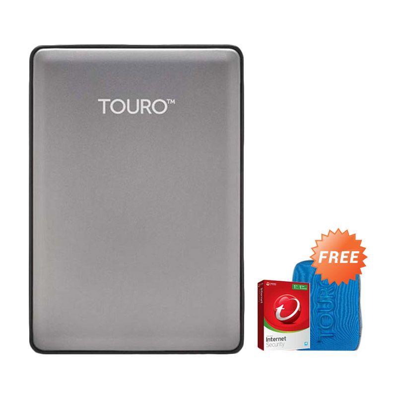 Hitachi HGST Touro S 500 GB Grey Hard Disk Eksternal [2.5 Inch] + Pouch + Anti Virus