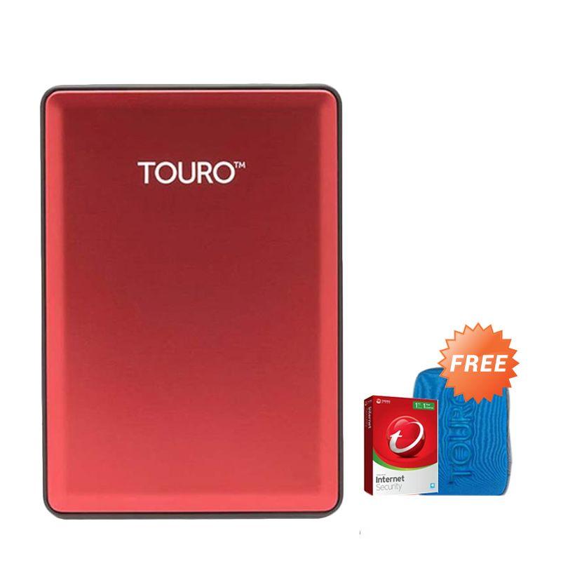 Hitachi HGST Touro S 500 GB Red Hard Disk Eksternal [2.5 Inch] + Pouch + Anti Virus