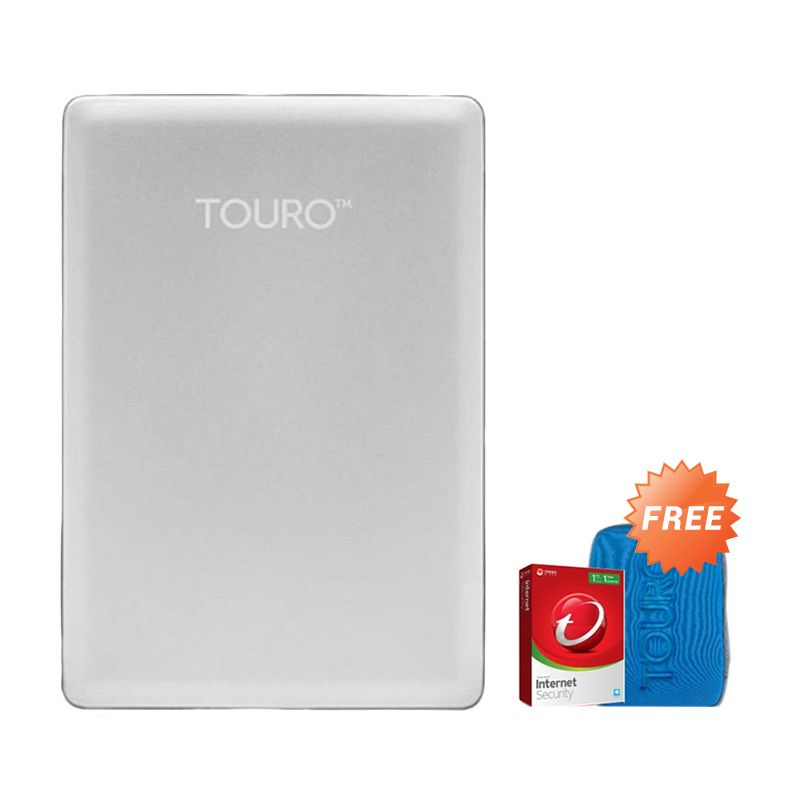 Hitachi HGST Touro S 500 GB Silver Hard Disk Eksternal [2.5 Inch] + Pouch + Anti Virus