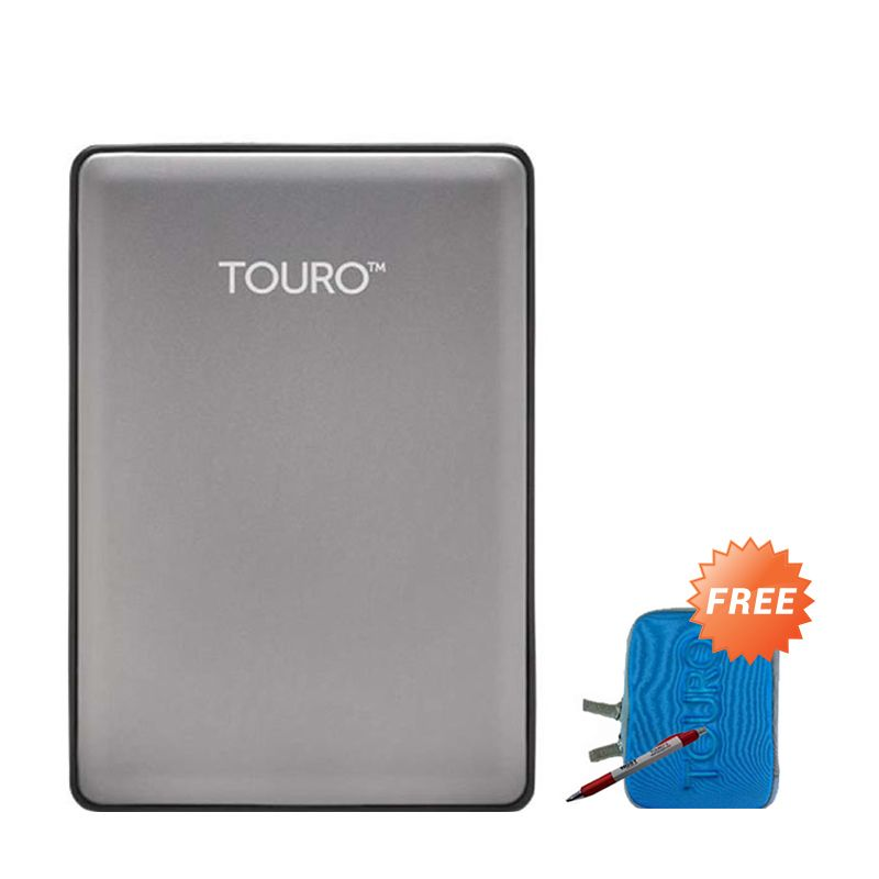 Hitachi Touro S 500 GB Grey Harddisk Eksternal + Pouch + Pen