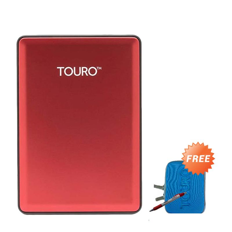 Hitachi Touro S 500 GB Red Hard Disk Eksternal + Pouch + Pen