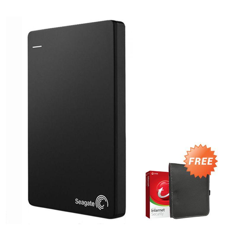 Seagate Backup Plus Slim 2 TB Hitam Hard Disk Eksternal + New Pouch + Antivirus Trend Micro
