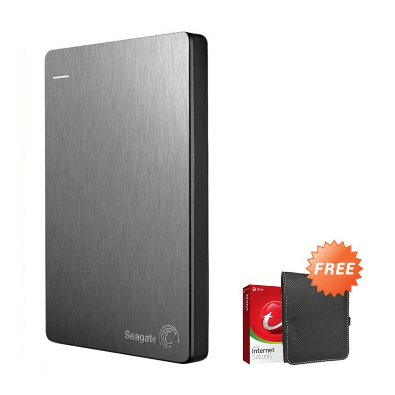 Seagate Backup Plus Slim 1 TB Silver Hard Disk Eksternal + New Pouch + Antivirus Trend Micro