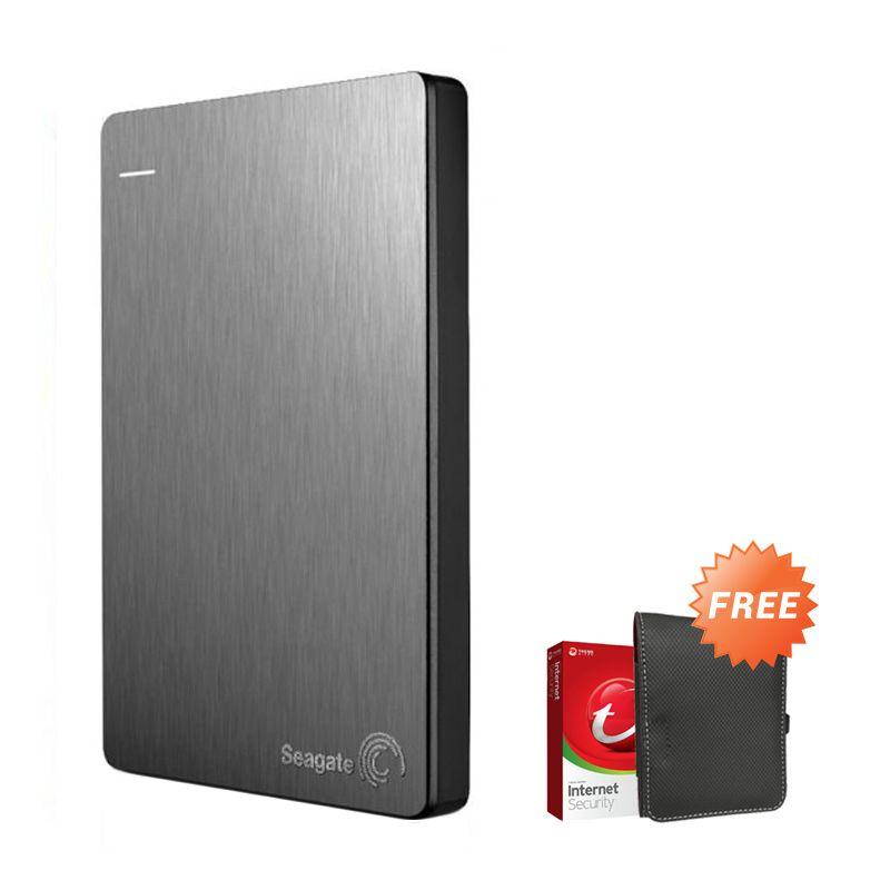 Seagate Backup Plus Slim 1 TB Silver Hard Disk Eksternal + New Pouch + Antivirus Trend Micro