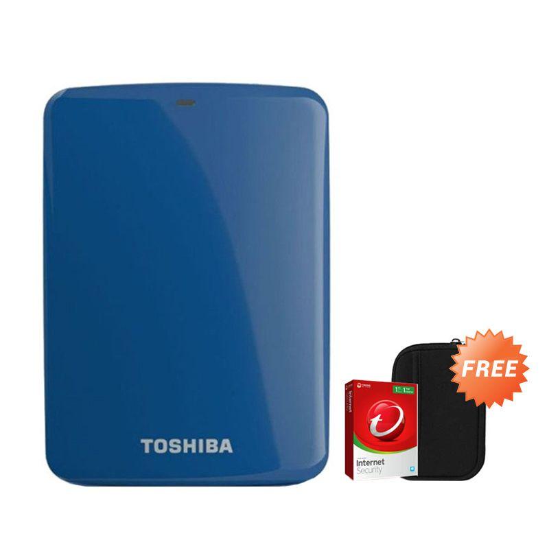 Toshiba Canvio Connect 1 TB Biru Hard Disk Eksternal + Pouch + Anti Virus