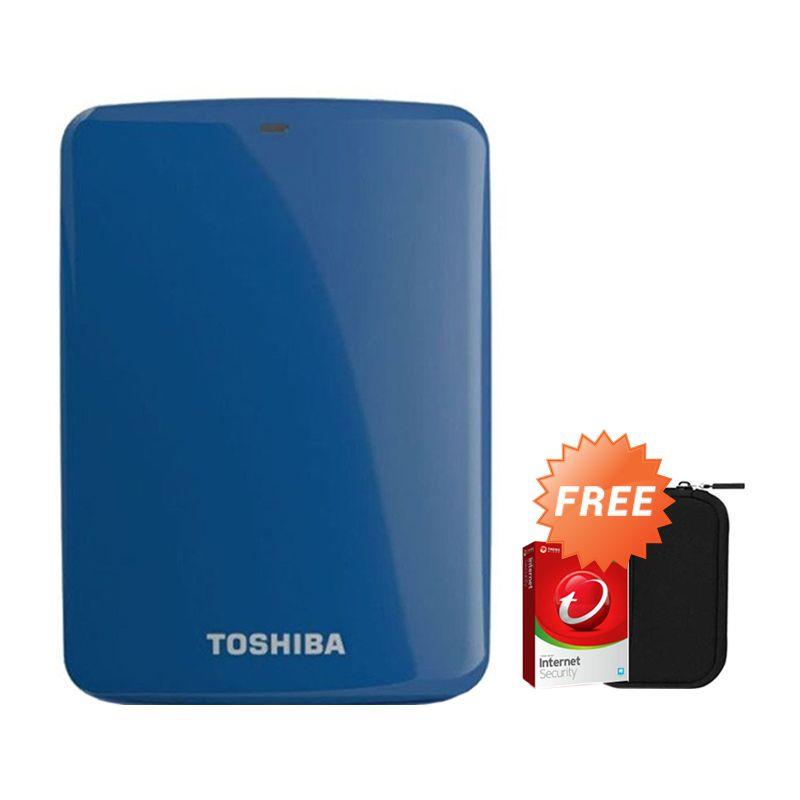 Toshiba Canvio Connect 2 TB Biru Hard Disk Eksternal + Pouch + Anti Virus