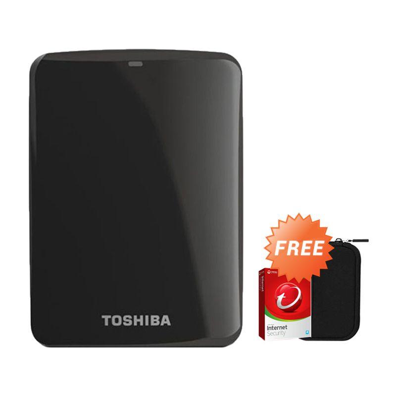 Toshiba Canvio Connect 2 TB Hitam Hard Disk Eksternal + Pouch + Anti Virus