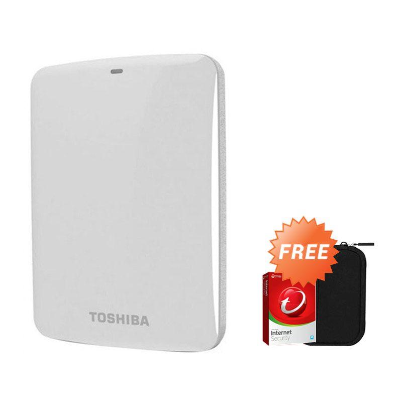 Toshiba Canvio Connect 2 TB Putih Hard Disk Eksternal + Pouch + Anti Virus