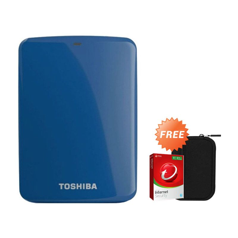 Toshiba Canvio Connect 500 GB Biru Hard Disk Eksternal + Pouch + Anti Virus
