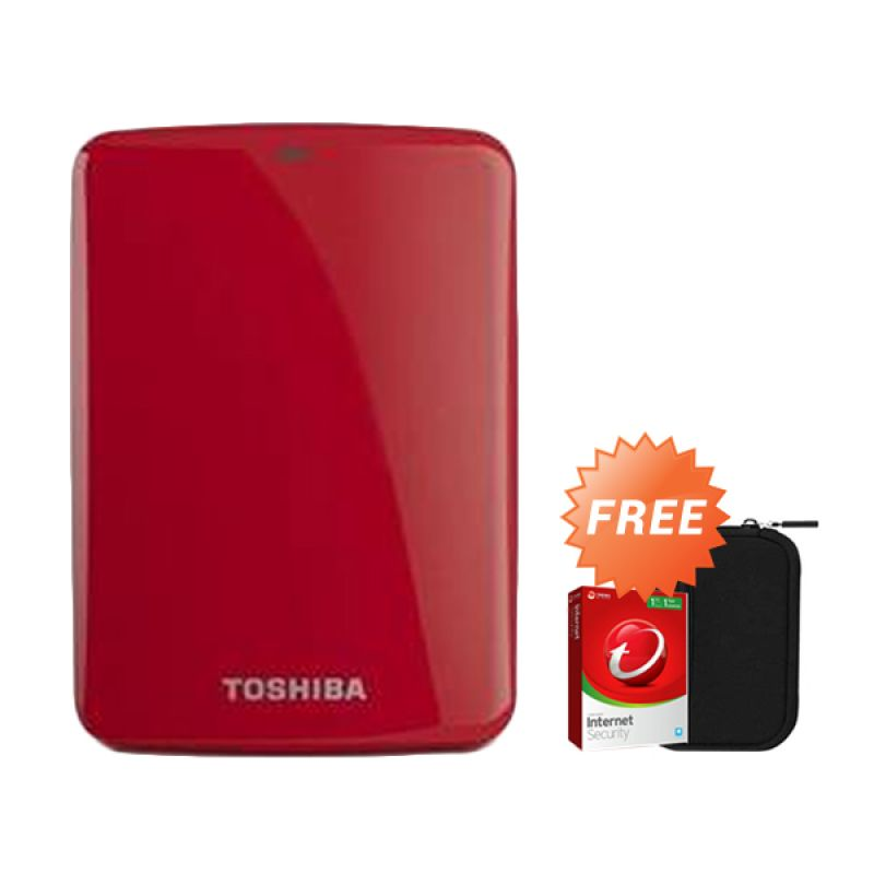 Toshiba Canvio Connect 500 GB Merah Hard Disk Eksternal + Pouch + Anti Virus