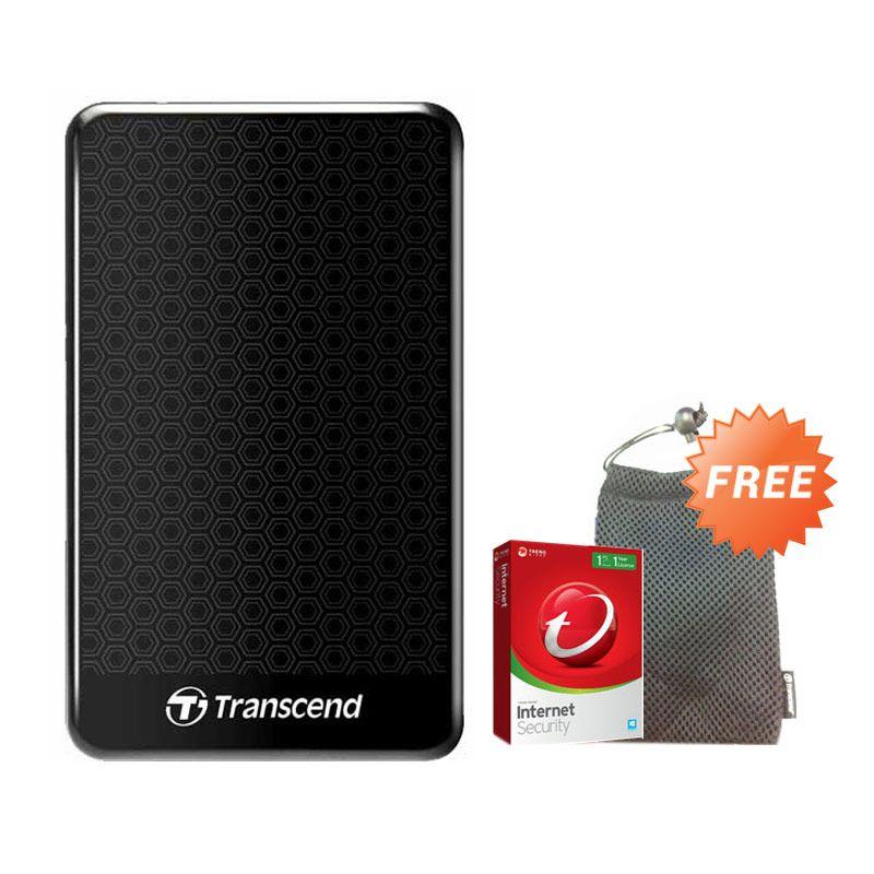 Transcend Storejet 1 TB Hitam Hard Disk Eksternal + Pouch + Anti Virus