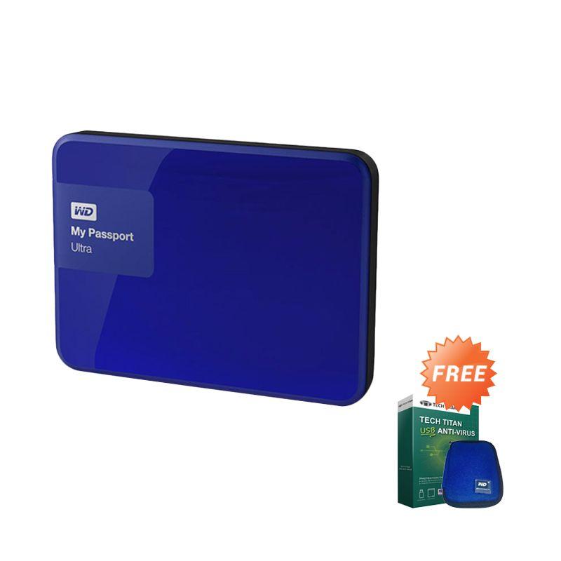 WD My Passport Ultra New Premium Biru Hard Disk [3 TB] + USB Anti Virus + Pouch