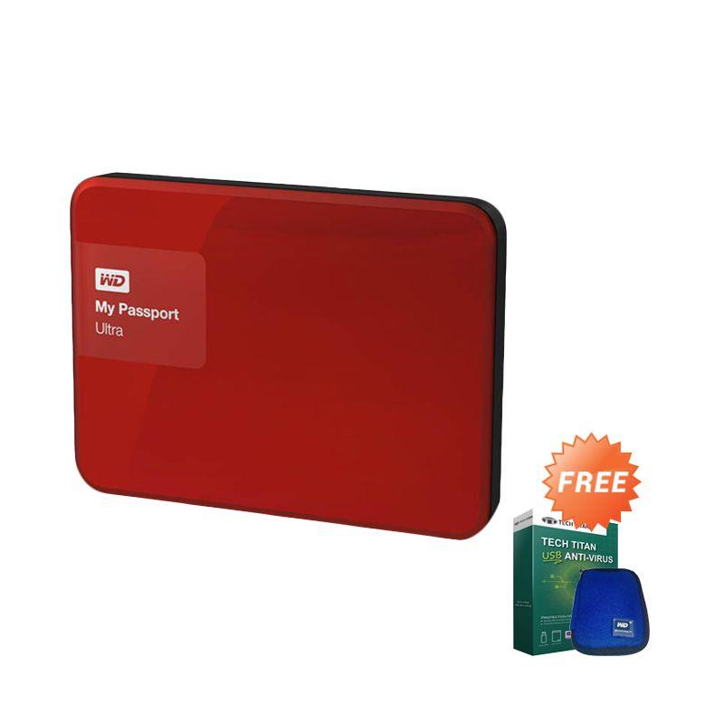 WD My Passport Ultra New Premium Merah Hard Disk [3 TB] + USB Anti Virus + Pouch