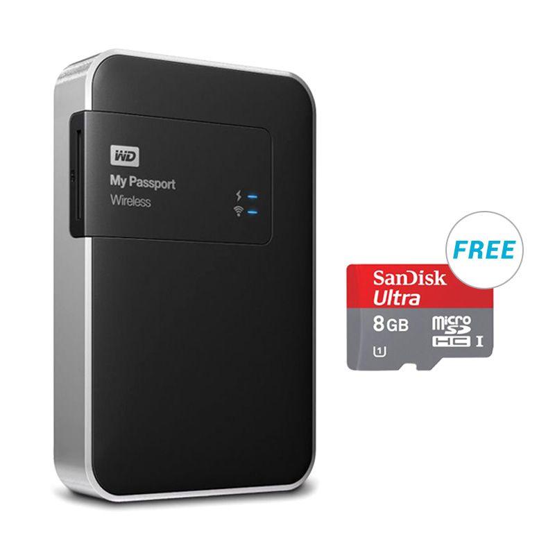 WD HD My Passport Wireless 1 TB Black Harddisk + Bonus Sandisk SDCard 8GB